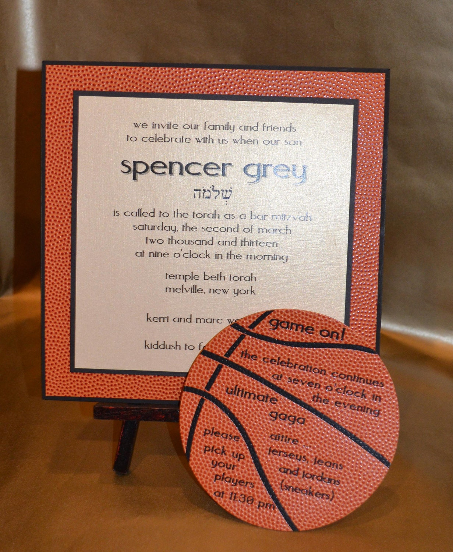 Items similar to Custom Basketball themed Bar Mitzvah ...
