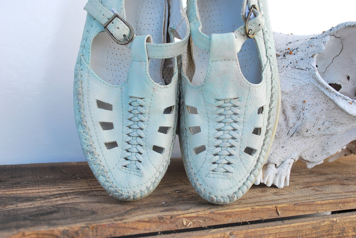 Vintage Woven Pumps / Womens Size 8.5 or 8 1/2 Mint Green Huarachas