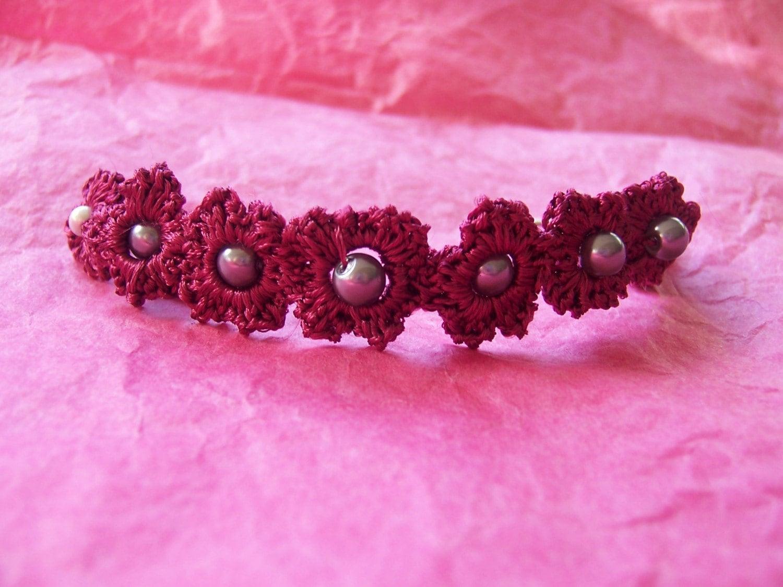 Silky  Crochet Flower Bracelet