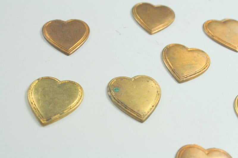Lot of Salvaged Vintage Brass Heart Jewelry Stampings
