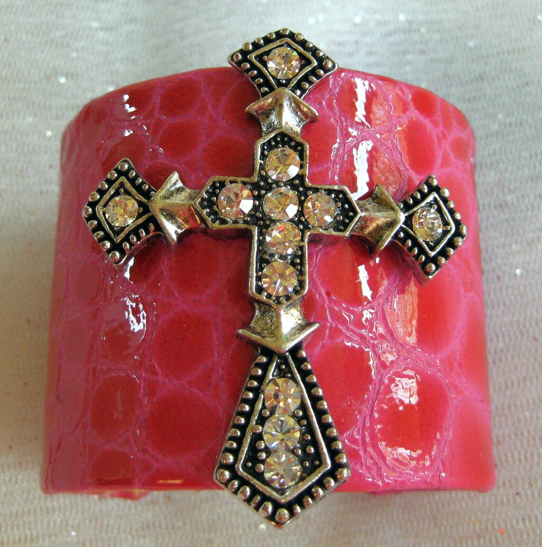"Cuff Bracelets, Sterling Silver Cuff Bracelets, Leather Bracelets,  ""Cross"""