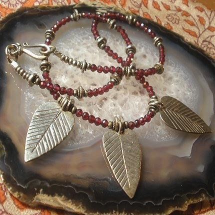 Garnet and SIlver Leaves Necklace