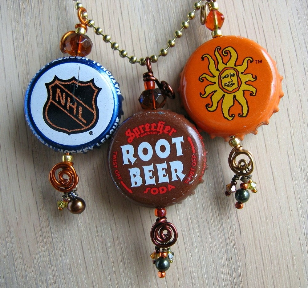 Soda and beer bottle cap jewelry pendants by brewedadornments for Beer cap jewelry