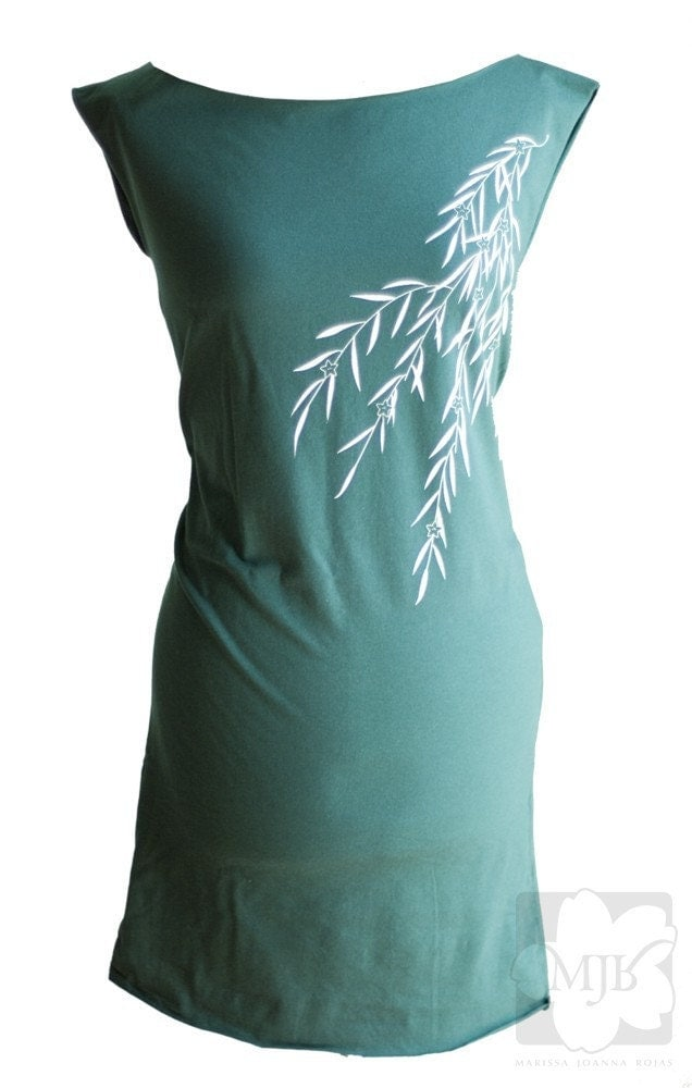 Forest Green Screen Printed T-Shirt Dress - Sizes Medium Large