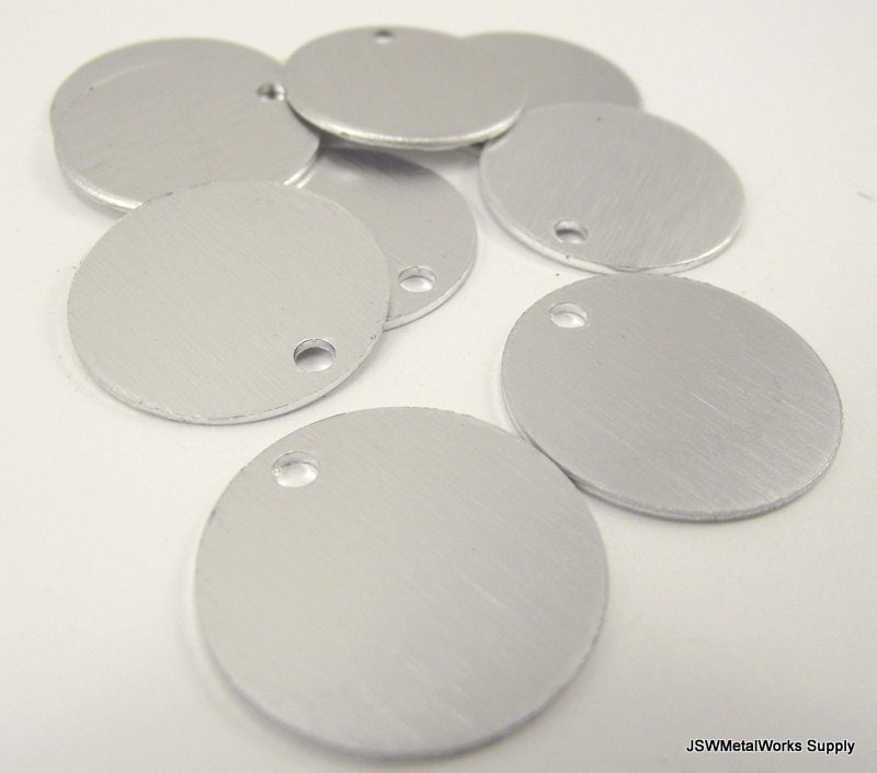 Inch anodized brushed aluminum tags by