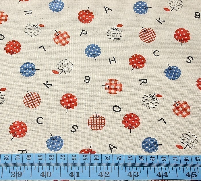 Japanese cotton linen blended fabric-cute apple red/blue (half yard)