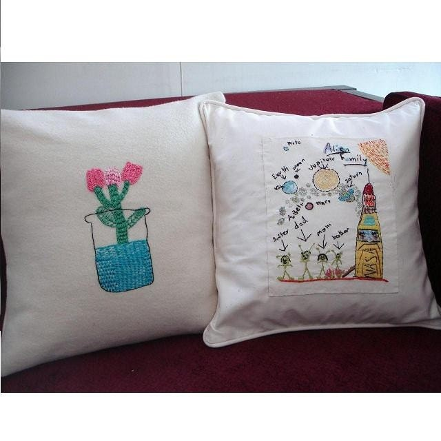 Custom embroidered pillow  cover  - your  child's artwork (or your own)