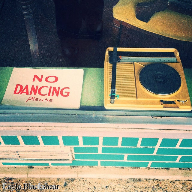 No Dancing - Austin Record Shop 8x8 Metallic Photograph OTHER SIZES AVAILABLE
