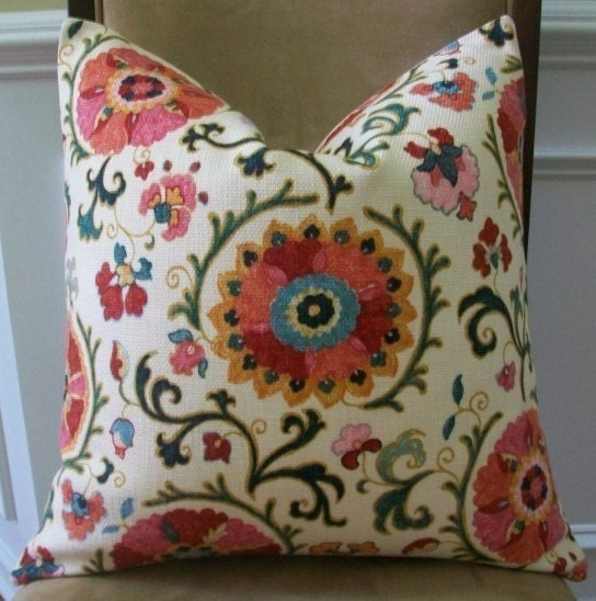 NEW DECORATIVE DESIGNER PILLOW COVER - 20x20 - SUZANI PINWHEEL PRINT ON A CREME BACKGROUND, FEATURED ON ETSY FRONT PAGE