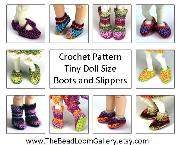 Crochet Pattern Miniature Doll Size Shoes by ...