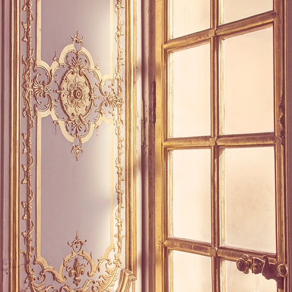 Golden Versailles Window Photograph, Paris Photography, Paris Decor, Gold Morning Sunlight, Paris Travel Decor - Morning - MelanieAlexandra