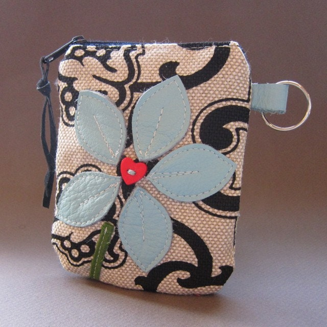 Recycled Leather Floral Key Chain Pouch in Black Cream Red and Blue from Studio Waterstone