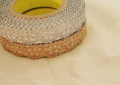 Natural Lace Roll Tape - Gold and Silver Set of 2