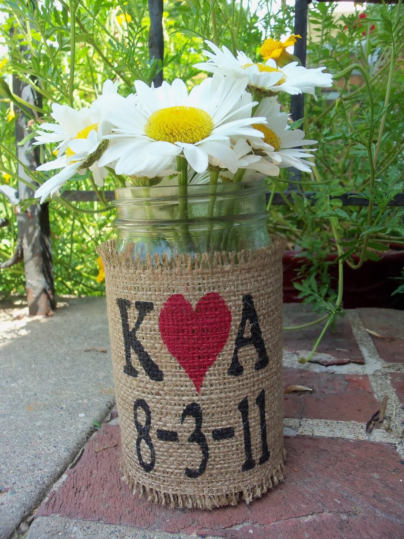 Items similar to burlap flower vase mason quart jar with