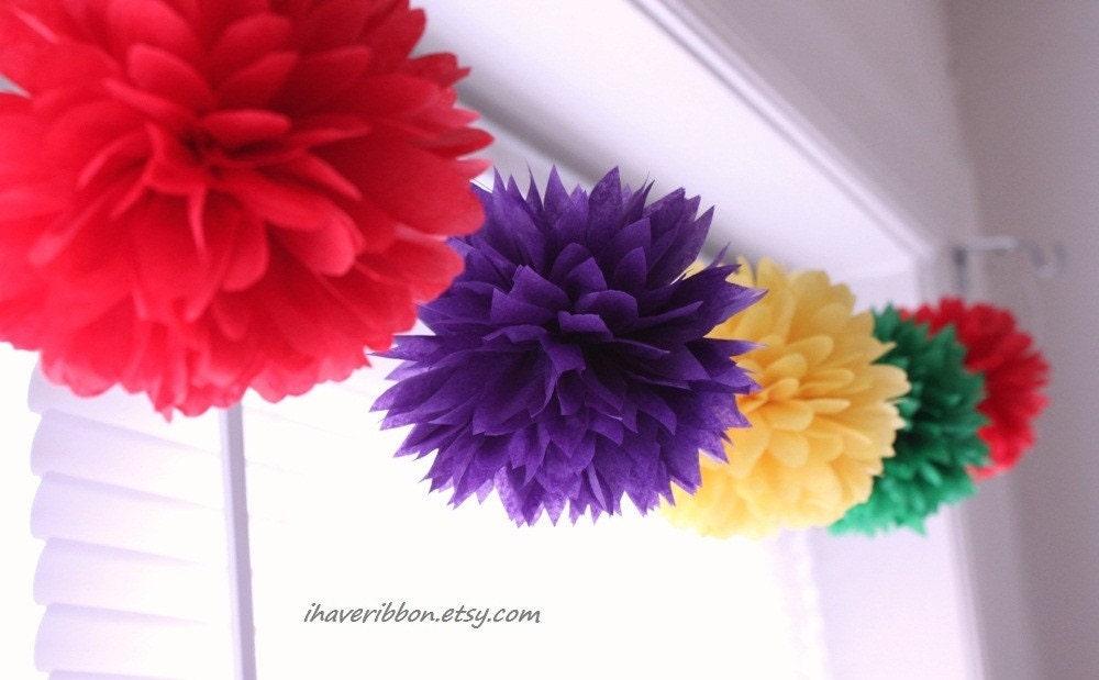 Holiday---party pom garland---7 pcs 6'' pom poms kit