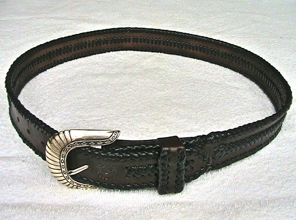 Leather belt with edge braiding and center applique braiding. - WoodBoneAndStone