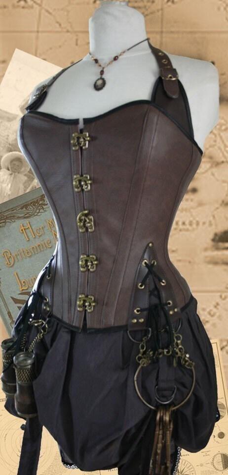 32 inch waist Steampunk Pirate Corset Brass DarkTan - Harlotsandangels