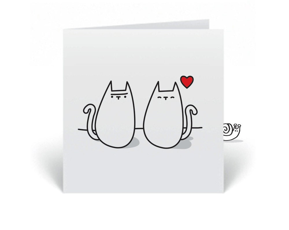 Blank, square Cat Greeting card to send to someone Sweet (choose your favorite design) - snailmailshop
