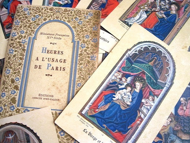 Antique French Religious Cards.13 Frame Worthy Prints. Book of Hours.