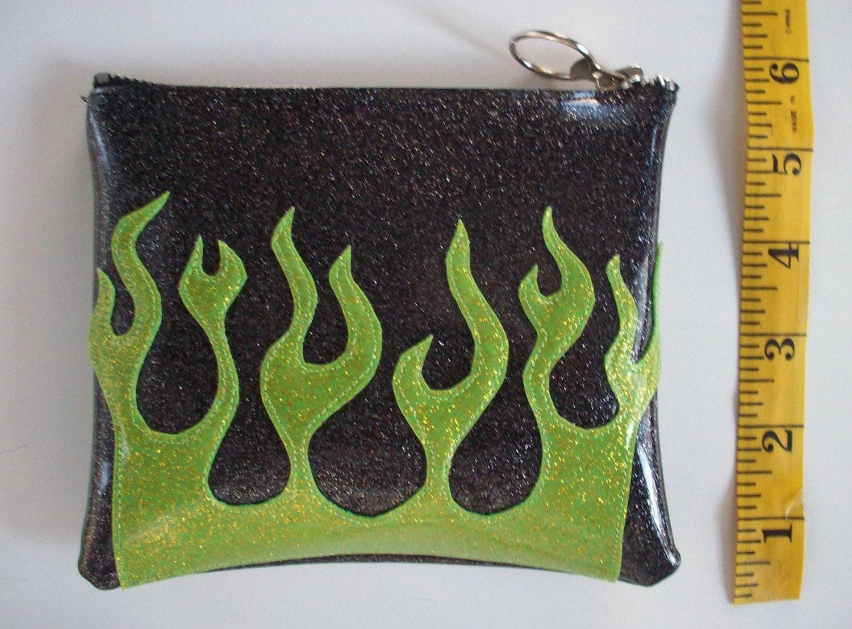 black w lime green flames