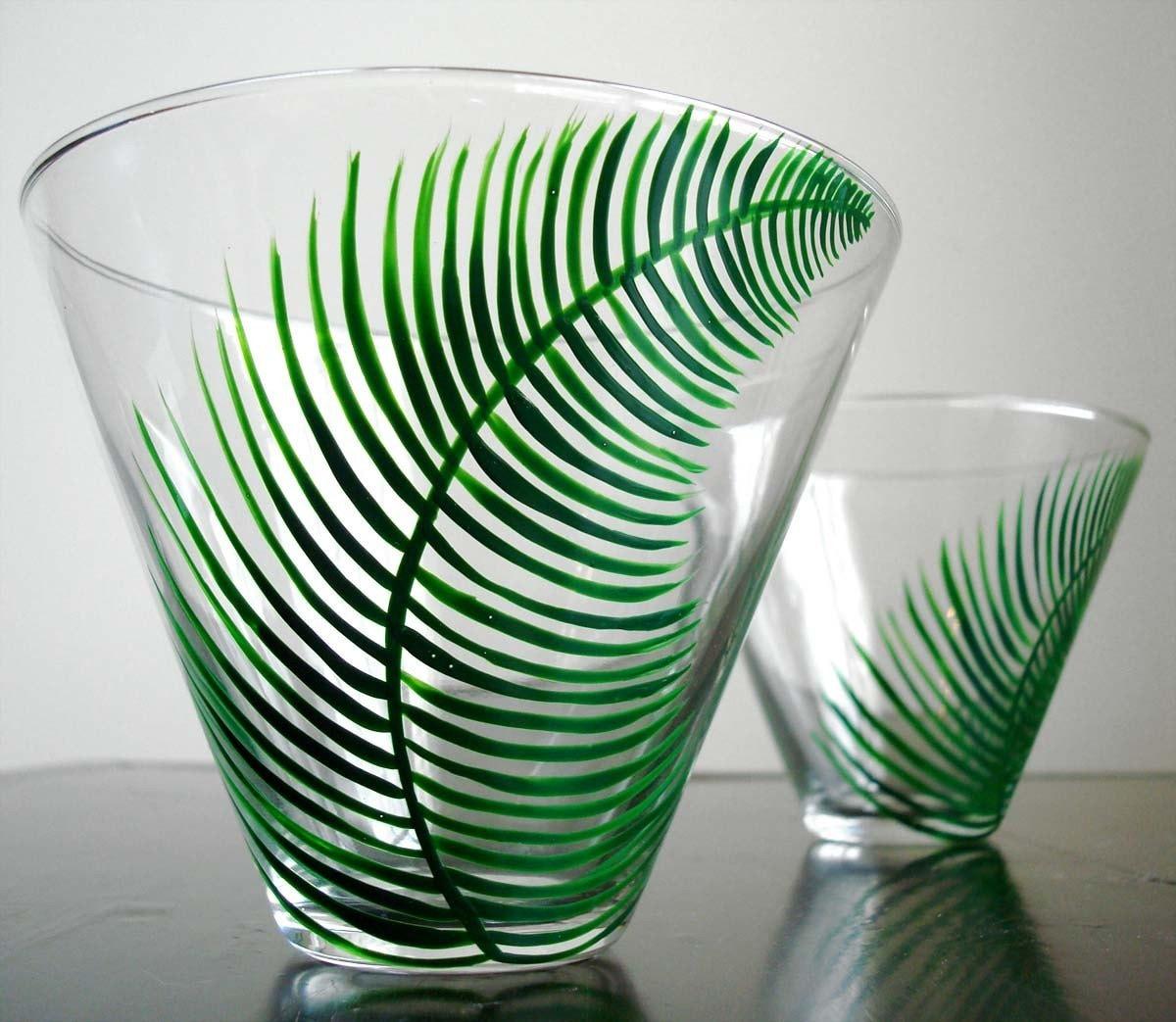Fern Stemless Martini Glasses--Set of 4