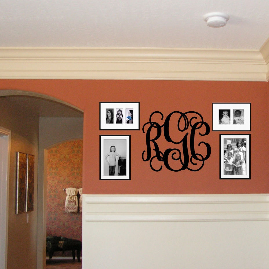 Etsy Initial Wall Decor : Monogram wall decal letter by