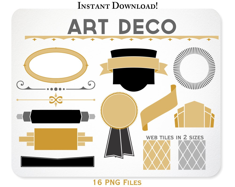 Art deco clipart design elements web tiles blog by for Deco 5 elements