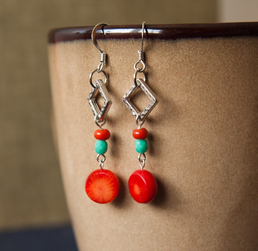 Coral and Turqouise Earrings
