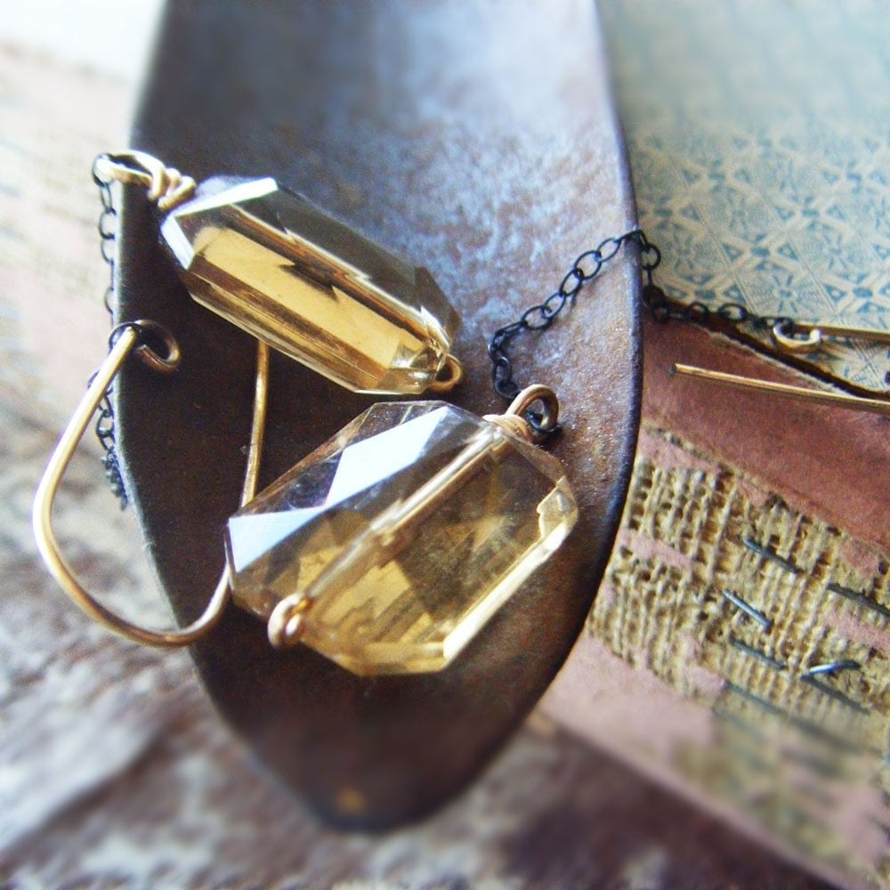 Calliope (vintage lucite, 14K goldfill, sterling silver earrings)