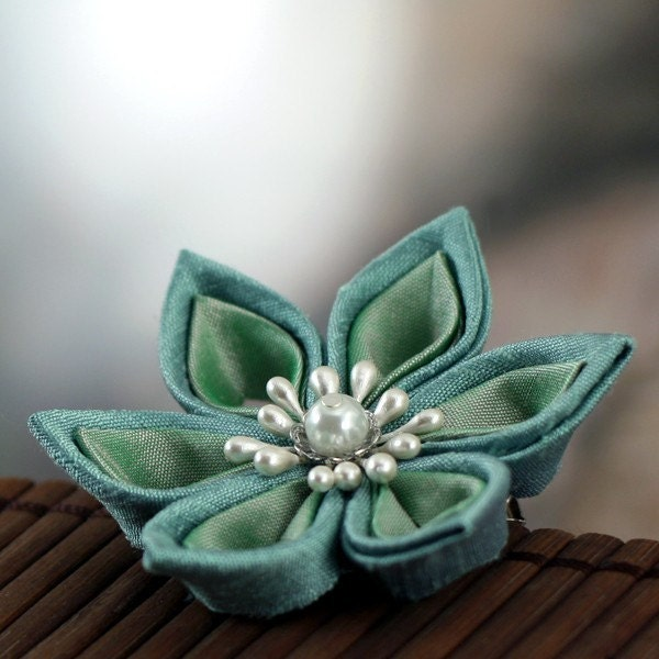 Mermaid Blossom - Kanzashi Flower Hair Clip