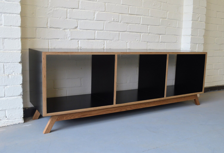 Modern Vinyl Storage Black Media cabinet Bespoke TV Stand Open Shelving unit