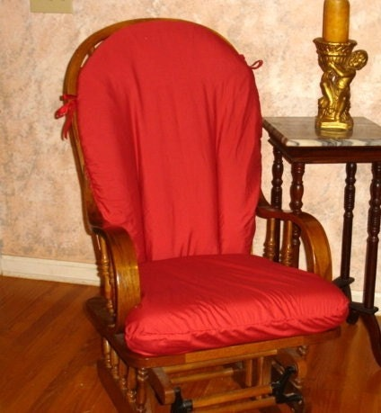 Holiday Glider Rocker Slip Cover- RED - Many Fabrics to CHOOSE from- Family Room or Nursery