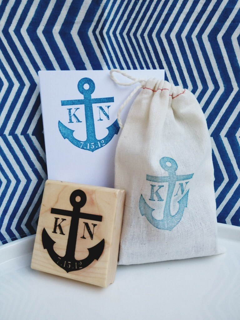 Personalized Wedding Stamp - Anchor - Favors, Buffets, Packaging, Treat Bag, Thank You Notes