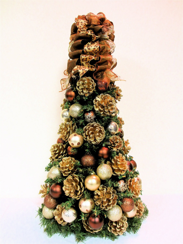 Items similar to christmas tree table top bronze brown Brown and gold christmas tree