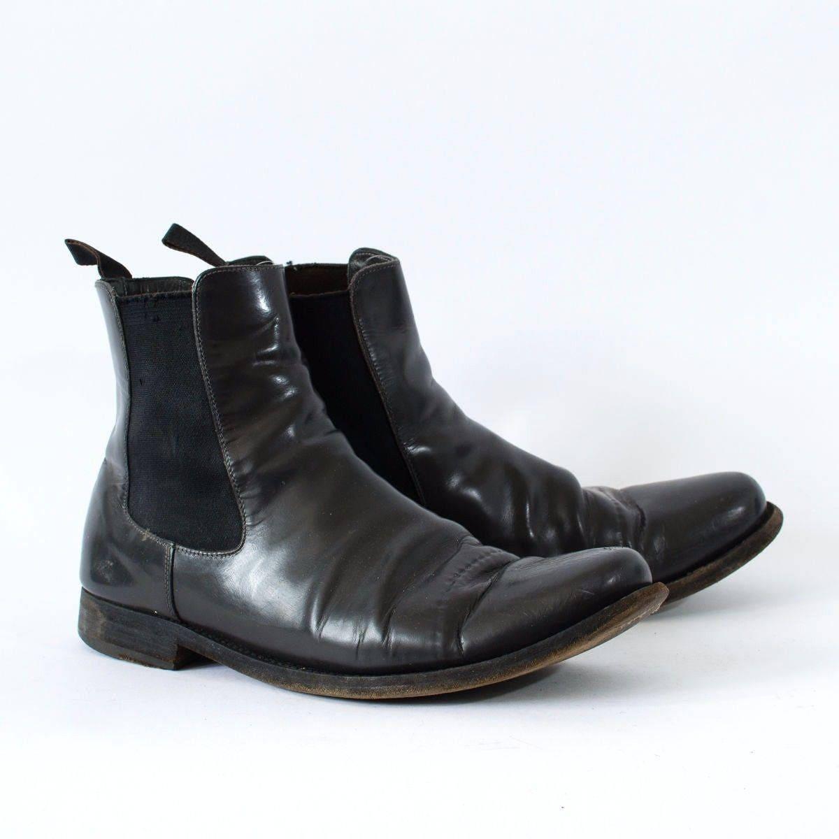 Vintage Black Real Leather Chelsea Boots Festival Mens UK 9 EU 43 US 10
