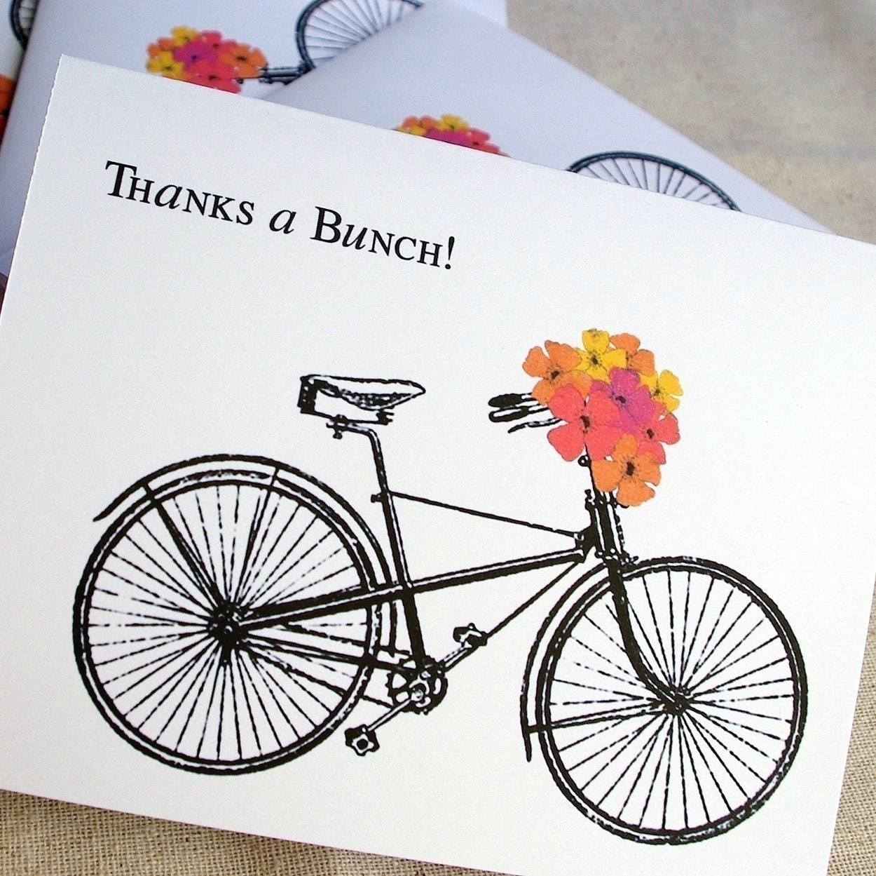 4 Thanks A Bunch Vintage Bicycle Card Set