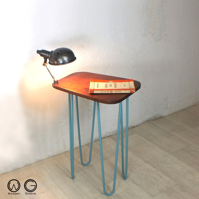 hairpin legs vintage industrial lamp bedside side table mid century retro Danish teak 1950s 1960s