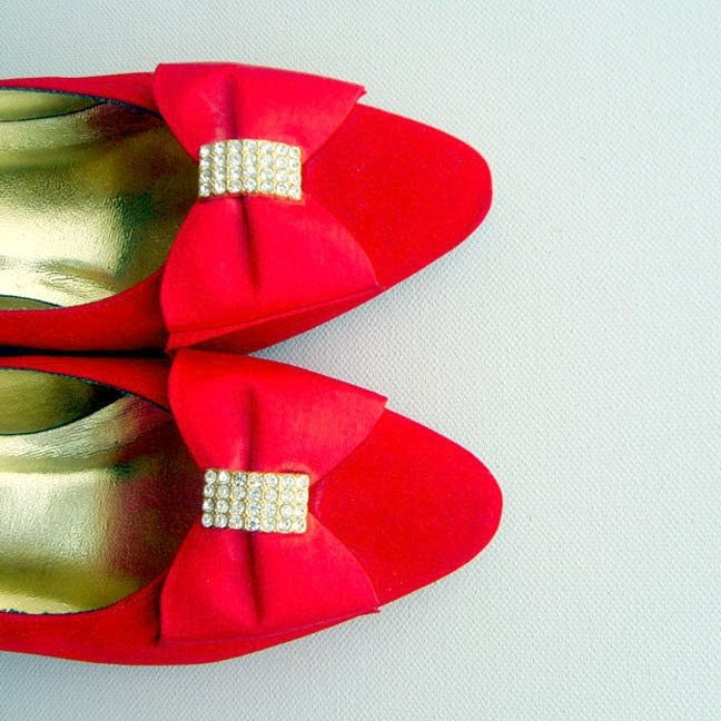 Vintage 80s Lipstick Red Pumps With Rhinestone Bow Ties 6.5