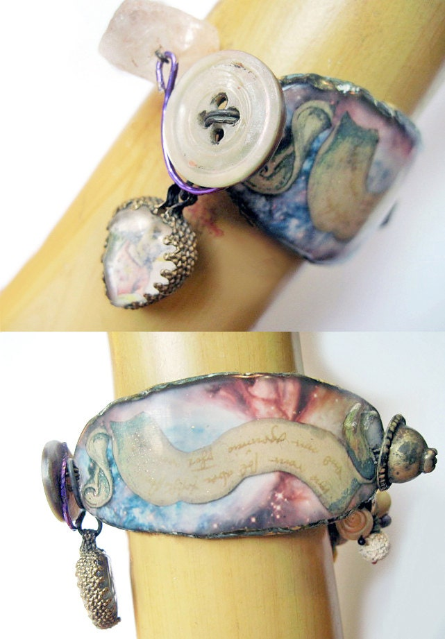 Spectral. Rustic Cosmic Alchemy Victorian Tribal Resin Bracelet.