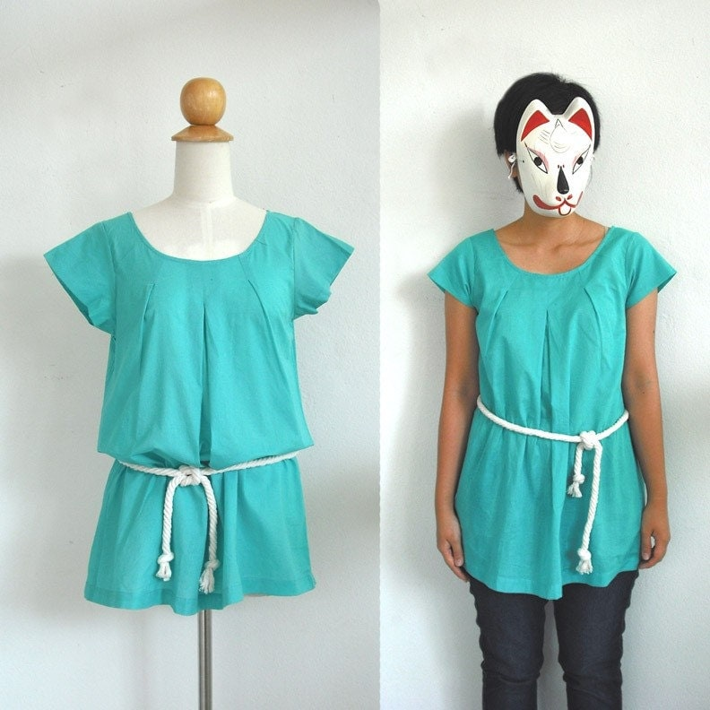 Kit-bit-s New original Spring Summer 2009 pleat Teal mint Green tunic with natural rope belt ( S )( M )