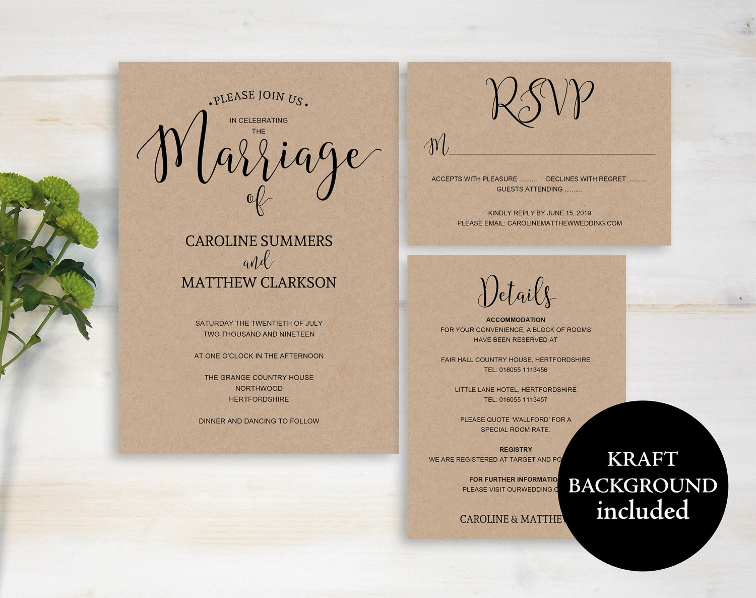 Rustic Wedding Invitation Template Printable Invitations Kraft Wedding Invitation DIY Invite Invitation Template Instant Download M01