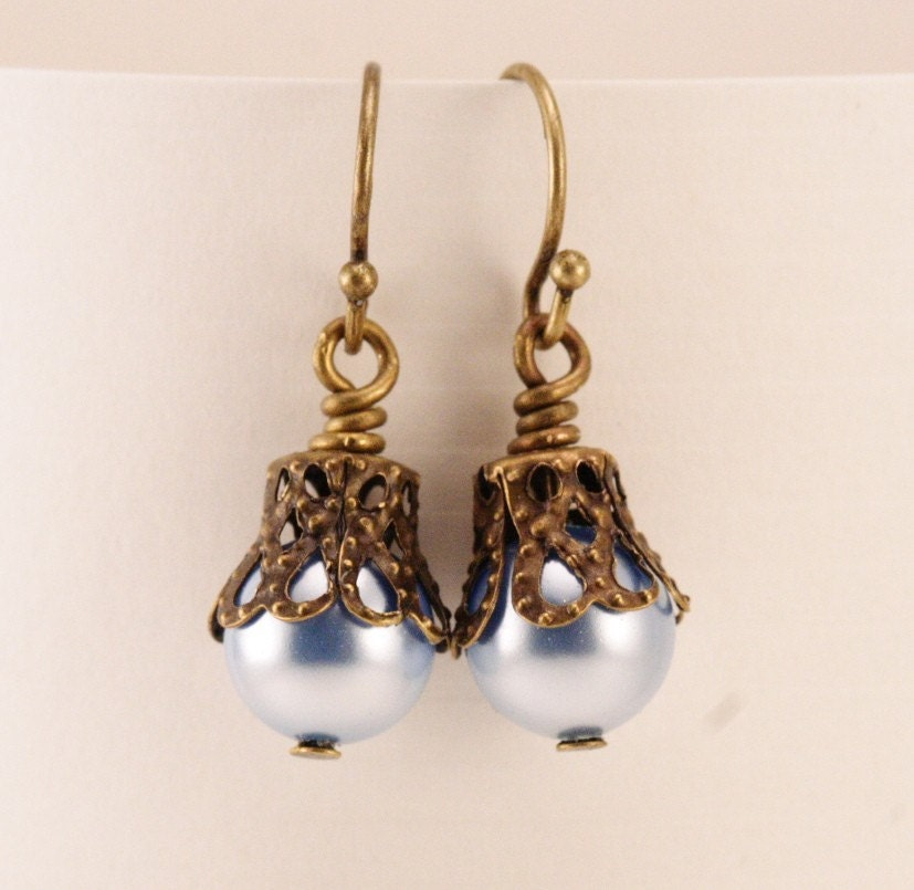 Dainty Blue Moon Pearl and Antique Brass Earrings