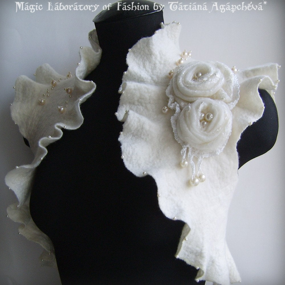 Mademoiselle Blanche FREE SHIPPING OOAK Wedding or Special Occasions Full Nuno-Felt Bolero Made to Order