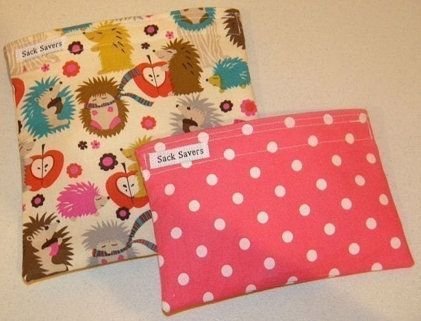 Hedgehog Meadow and Polka Dot Eco Friendly Reusable Sandwich and Snack Bag Set