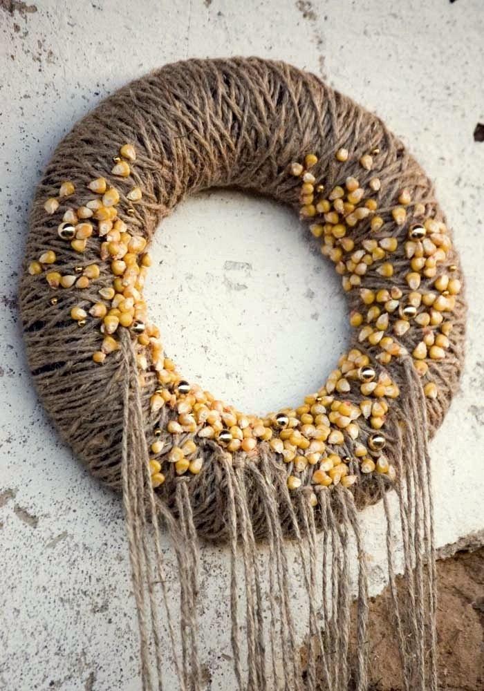 Дверь венок, серый, серый, желтый кукуруза, золото - Золотая осень
