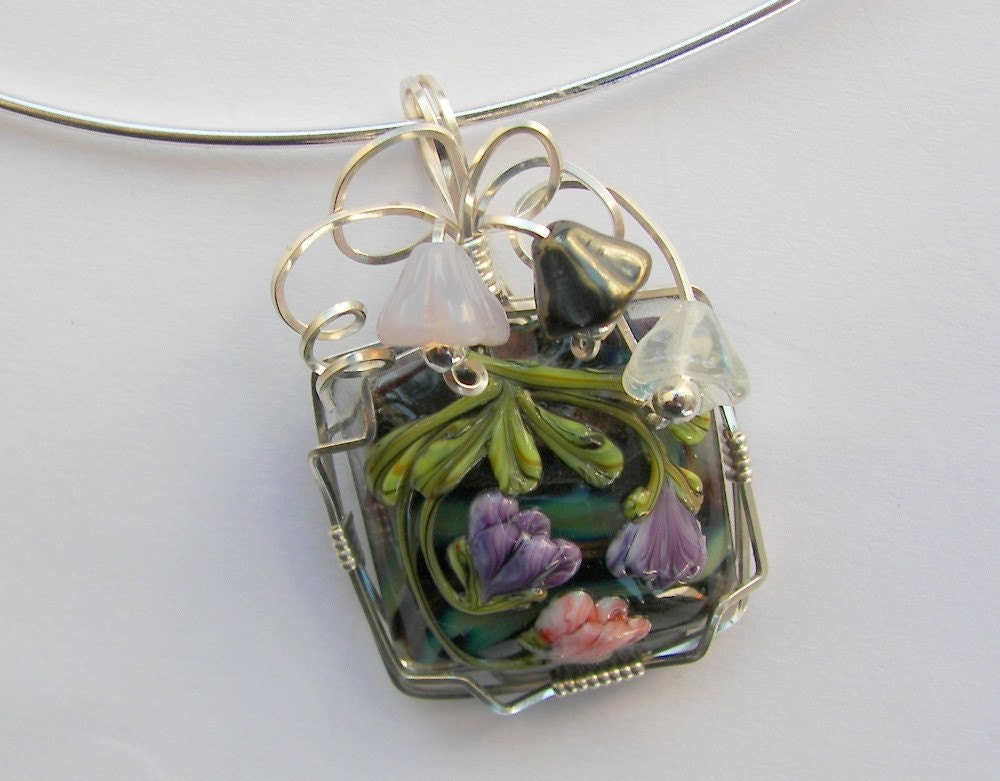 Argentium Silver Wrapped Lampwork Bead