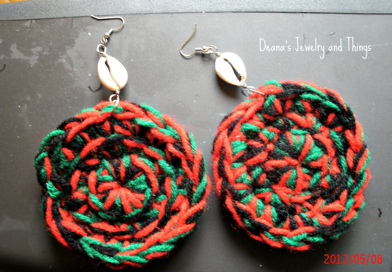 Red, Black and Green Crochet Hoops w/Cowie