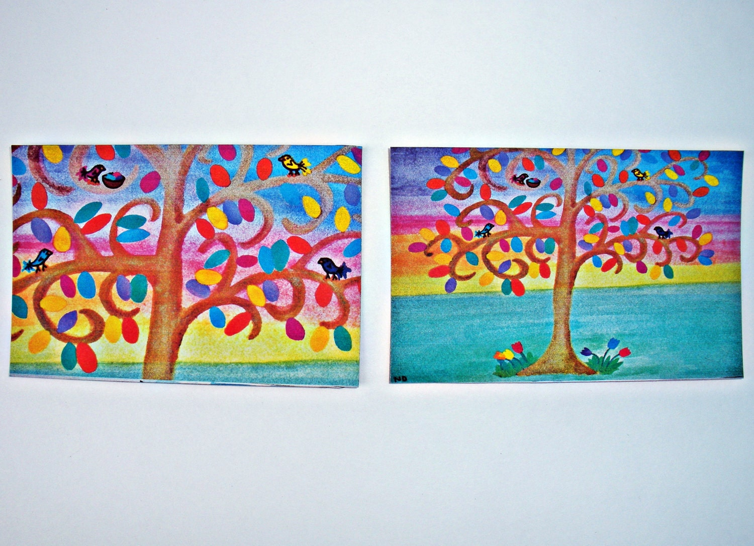 Set of 2 Magnets Tree at Sunset with Colorful Birds and Rainbow Leaves