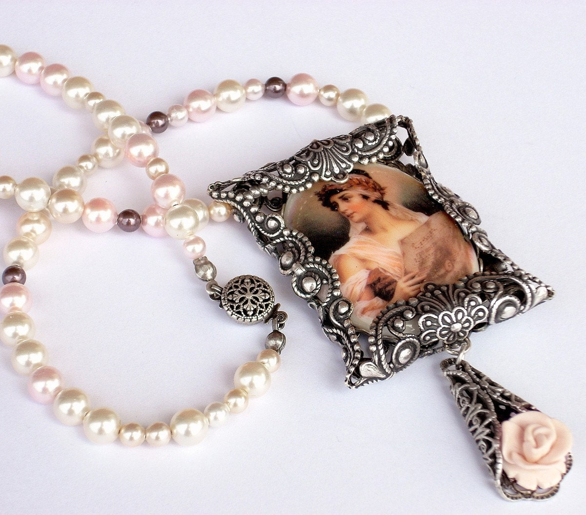 Victorian Pearl Necklace - Pink Porcelain Cabochon and Swarovski Pearls - Peach Rosaline - Ancient Greek, Roman - Baroque - Rose