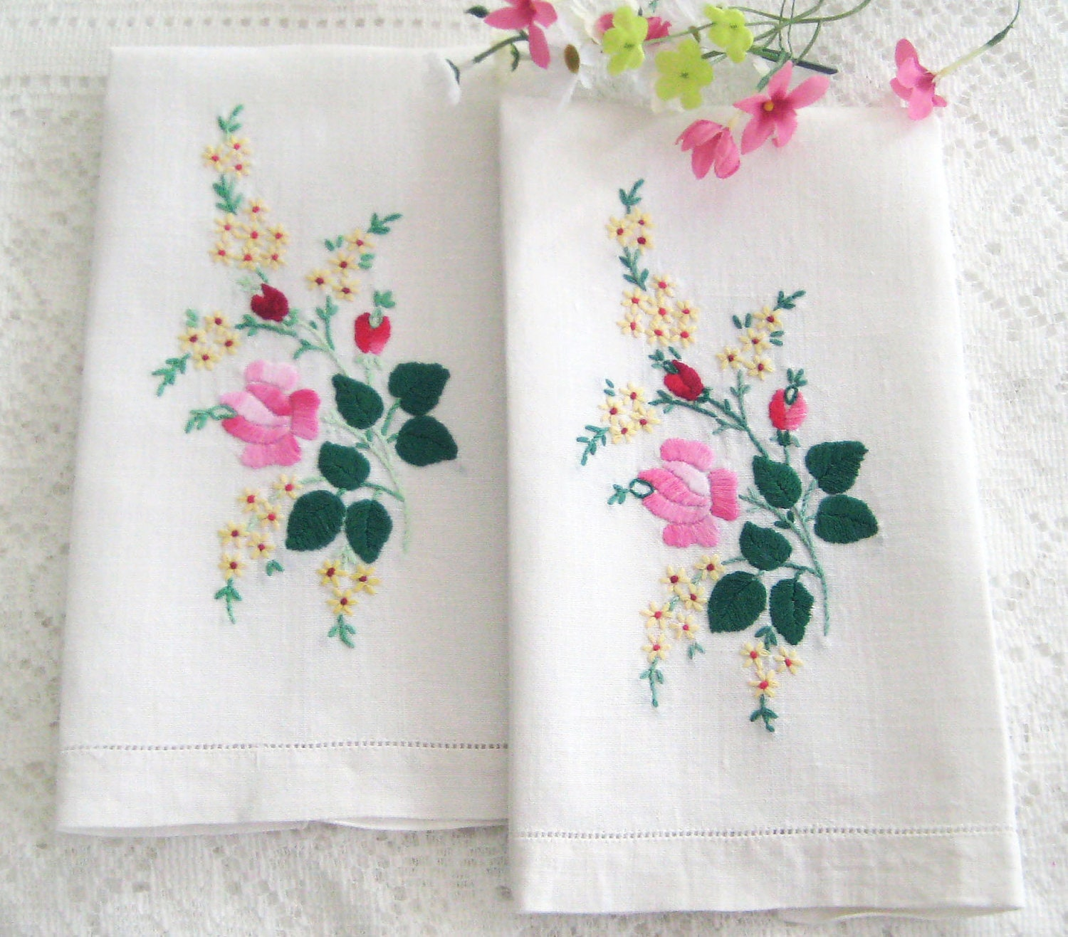Rose Embroidered Towels: 2 Vintage Hand Towels. Embroidered Roses By